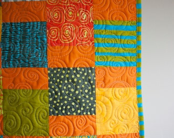modern baby quilt in bright colors // gender neutral baby blanket // orange green and blue // READY TO SHIP