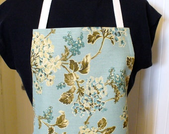 Sized Womens Full Apron Petite Short OR Medium Average Size Chefs Apron Dogwood Floral Aqua Brown Tan