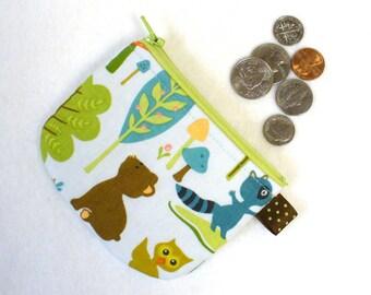 Boys or Girls Cute Mini Coin Purse Bear Cub Raccoon Mini Change Purse Woodland Tails Sheri Berry Riley Blake Handmade