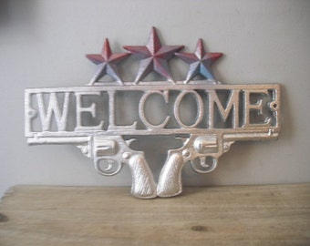 SALE Chrome Silver  .. Rustic Cast Iron .. Welcome Sign .. Western Decor Plaque .. Gun Welcome Sign.. Stars .. Shabby Chic Decor