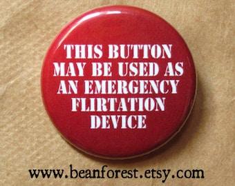 emergency flirtation device- flirt pin button flirty 30 badge breakup gift lifeguard costume conversation starter emergency floatation