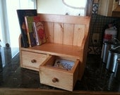 Cook Book Recipe Display Rack Counter Top Shelf Recipe Drawers Country Primtive Stained