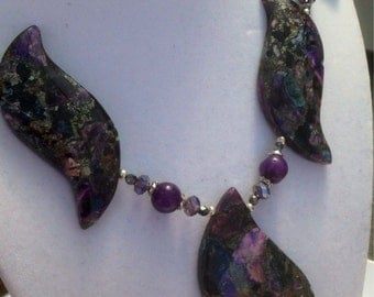 Purple passion Jade and stone necklace and earring set