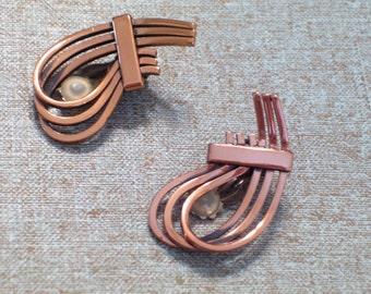 Vintage RENOIR Copper RHYTHM Modernist Clip Earrings