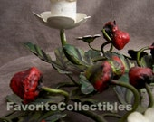 OOAK Italian Strawberry Tole Candle Holders Metal Pair Candelabras from FavoriteCollectibles