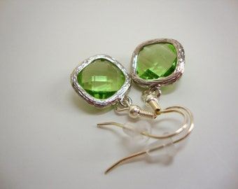 Sparkly Green Peridot Crystal Earrings