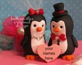 Penguin Wedding Cake Topper Love Birds