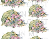 Digital Download Graphics Parasol Flowers Pink Cottage Roses Transparent PNG and Instructions on how to make Waterslide Decals too! ECS