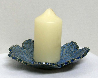 Handbuilt Medium Blue Doily Impressed Shallow Bowl