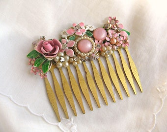 Pretty In Pink Bridal Accessories Vintage Jewelry Assemblage Hair Comb - Charming Wedding/Christmas Gift
