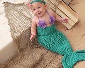 3 pc. Little Mermaid Princess Ariel Tail Photo Prop or Merman Halloween Costume