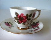 Delphine Bone China Tea Cup and Saucer England Red Flowers