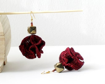 Ruby and Gold Dangle Earrings Crochet  Earrings Textile Statement Earrings Ruby Red and Shabby Gold