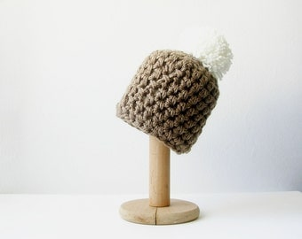 Brown Pompom  Beanie Camel Brown Knit Pom Pom  Hat  Chunky Women's Beanie