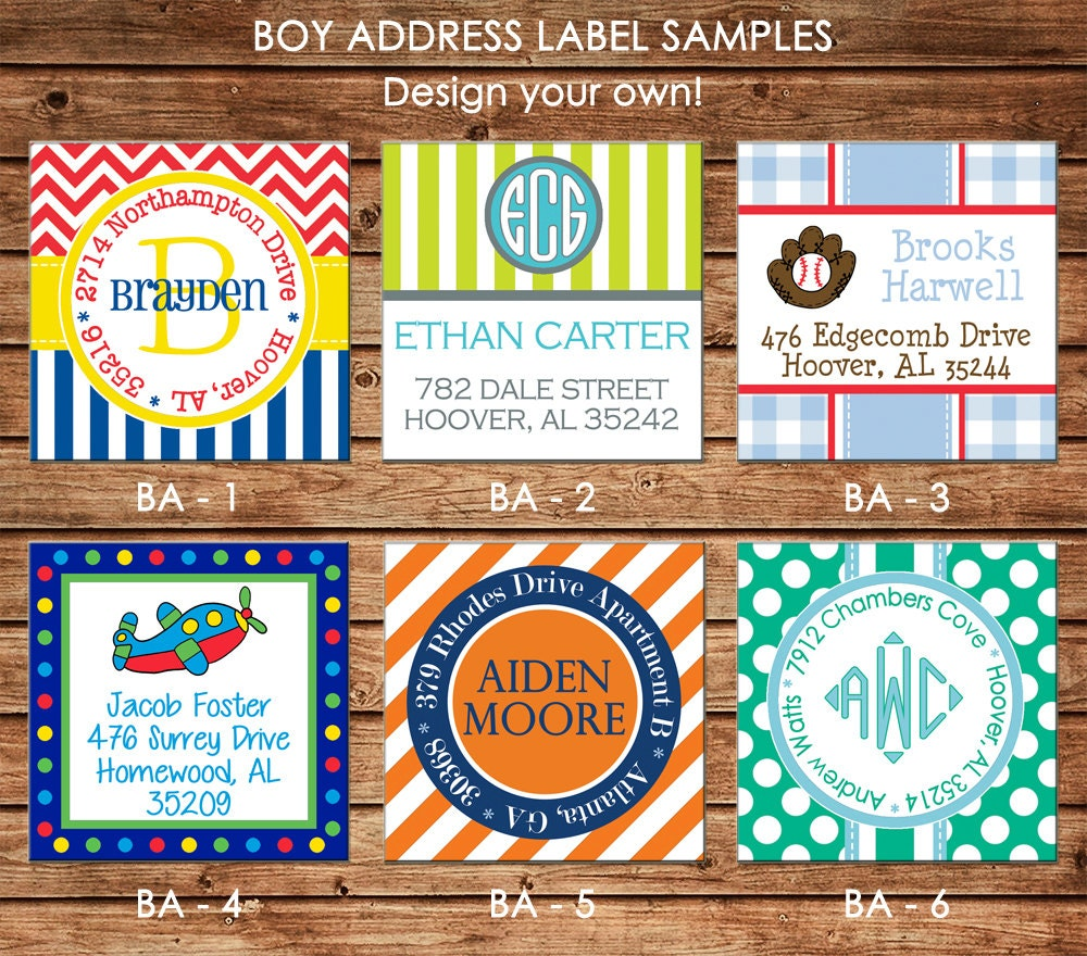 Boys Premium Name Labels: 30 Square Return Address Labels Boy Personalized