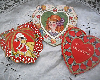 Set of 3 valentine cards, 1940's valentines, altered art supply, mixed media supply, retro valentines, heart cards, 40's era valentines