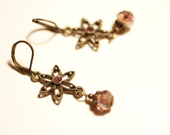bronze flower earrings, red purple AB, dangling earrings, Boho, spring, summer, oriental, elegant, vintage style