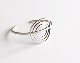 "Recycled sterling silver round sun inspired cuff bracelet, unique design handmade of flattened and square silver wire - ""Mitra Cuff"""
