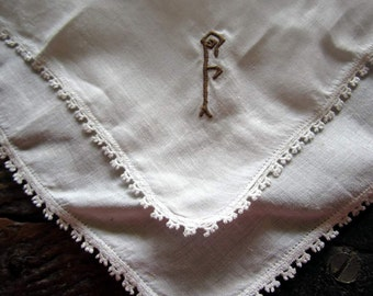 """Vintage White Linen Hanky/handkerchief with Crocheted Edging and """"F"""" monogram in Brown"""