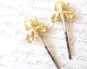 Gold Iris Flower Hair Pins - Iris Bobby Pin - Woodland - Rustic - Nature - Bridal