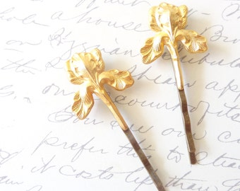 Gold Iris Flower Hair Pins - Iris Bobby Pin - Woodland - Rustic - Nature - Bridal
