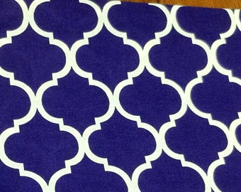 Quatrefoil fabric in dark purple