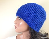 Blue Baby Alpaca Beanie Hat, Custom Made Crochet Knit Hat, Reversible // BEDFORD // Shown in Color 29 Royal Blue