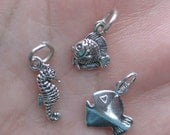 Sterling Silver Fish, Tiny fish, or Sea horse Charm(You choose between one or two)