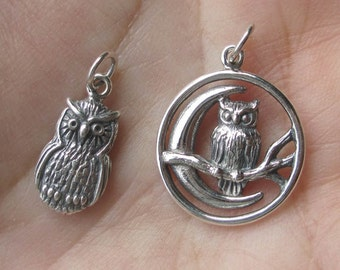 Sterling Silver Owl Charm or Pendant(one charm or pendant)You choose which one