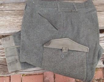 Vintage Swedish Wool Military Pants M39 Dated 1944