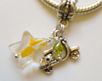 Motor Scooter European Charm Bead and Star Tibetan Silver Bracelet Necklace Anklet Charm (LGD104)