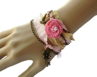 Seam Binding Rose Wrap Bracelet