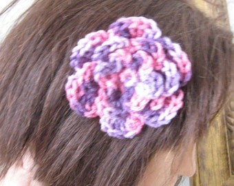 Pink and Purple Multicolor Rose Flower Hair Accessory Barrette Clip for Hats or Headbands