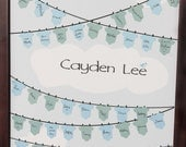 Baby Shower Guestbook -Clothesline with undershirts 16x20