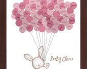 Baby Shower Guestbook, Bunny with Balloons, Girl Baby Shower