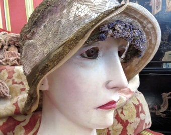1920s Antique Gold Metallic Lace Cloche Flapper 20s Hat Tiny Forget Me Nots Under Brim Extra Small Size
