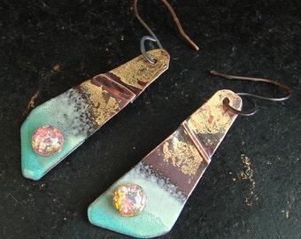 Golden Galaxy - enameled fold formed copper, vintage faux opal, gold leaf, handmade earrings by Vintajia Adornments