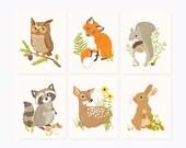 Woodland wall art, Forest wall decor, Nursery wall decor for kids, baby wall art, owl, fox, squirrel, raccoon, deer, bunny
