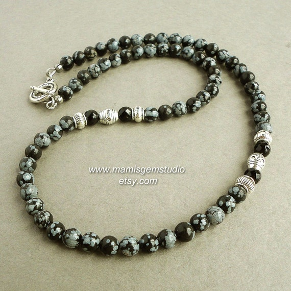 mens beaded necklace snowflake obsidian black onyx