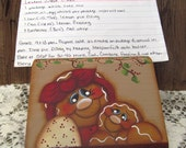 Gingerbread Wood Recipe Holder Red and Tan