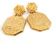 Vintage 90's Avon // Golden Maze Clip on Earrings