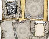 Death's Temple Digital 5 Page Set - Book of Shadows, Grimoire, Halloween Scrapbook, Spells