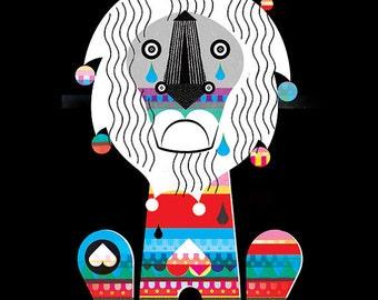 A3 Print Sad Lion