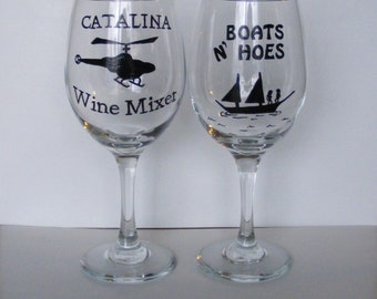 Gift SET of 2 Step Brothers funny wine glasses CATALINA Wine Mixer and Boats N Hoes