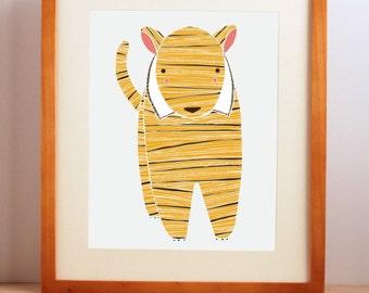 Tiger Nursery Art, Zoo Nursery Decor, Tiger Wall Print, Tiger Illustration, Baby Room Art, Nursery Wall Art, Jungle Nursery