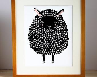 Baby Animal Nursery Art Prints, modern minimalist nursery decor, black sheep - barnyard animal, farm animal childrens art, sheep art