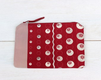 Bridesmaid Clutch, Unique Gift, Red and pink floral, Kimono, Zipper Pouch, Obi Sash Fabric