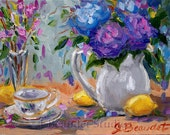 Print  of  Original Oil Painting Floral  Impressionist Lemons and Purple Hydrangea