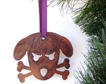 Dog Christmas Ornament / Gift for Dog Lover/Dogs/Ornaments/Rustic/Rusty/ Doggy/Metal Ornament/Christmas Gift by WATTO Distinctive Metal Wear
