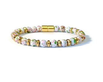 White/Gold Magnetic Hematite Bracelet, Picasso and Gold Metallic Hematite Beads, Pain Relief Jewelry